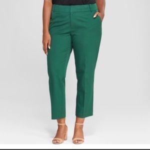 NWT Ava & Viv Green Mid Rise Ankle Pants